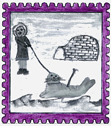 Labrador West Winner   Traditional Inuit Seal Hunting  by  Autumn Penney  Aged: 10, Grade 5 Eric G. Lambert School