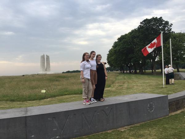 Several Ambassador Program students at Vimy Ridge