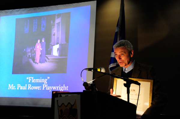 "Mr. Paul Rowe, playwright of ""Fleming"", accepts the Manning Award on behalf of the Basilica Heritage Foundation."