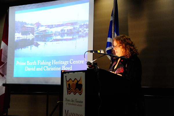 Ms. Terry Bishop Stirling, HSA board member, speaks on Prime Berth Fishing Heritage Centre, a project in the Provincial Category.