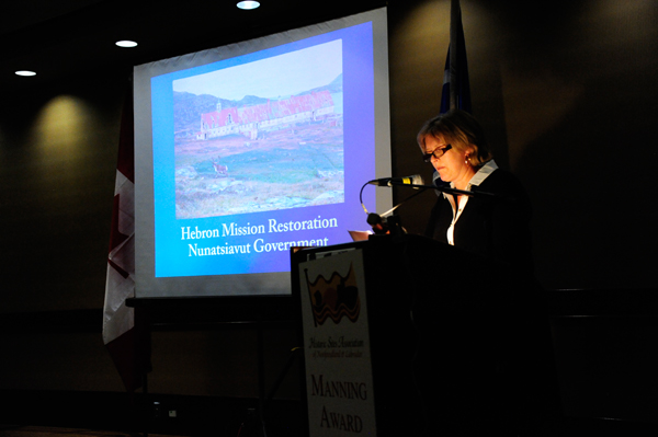 Ms. Margo Connors speaks on a project in the International Category, the Hebron Mission restoration conducted by the Nunatsiavut Givernment.