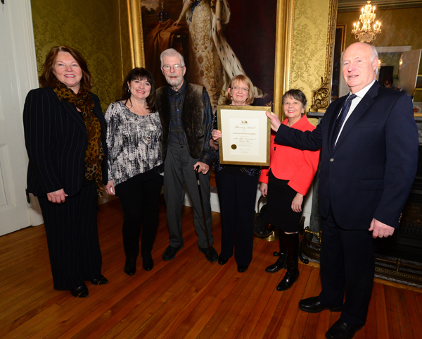 Representatives from the Home from Sea Sealers Memorial at Government House with their Manning Award.