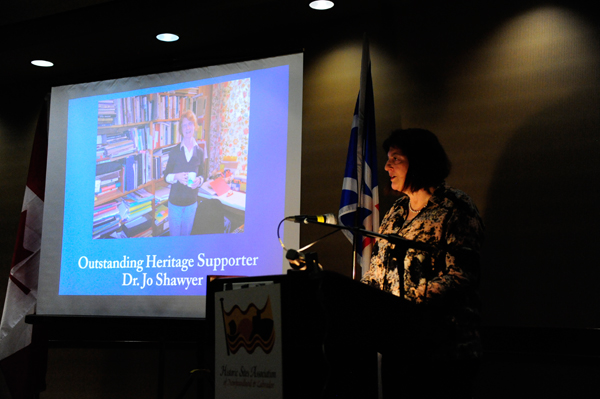 Ms. Joan Ritcey, HSA board member, remarks on this year's Outstanding Heritage Supporter, Dr. Jo Shawyer.
