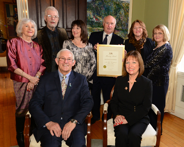 The representatives of the Home from the Sea Sealers Memorial at pictured at Government House with Their Honours.