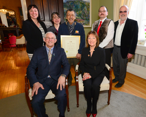 The representatives for the Hebron Mission Restoration are pictured at Government House with Their Honours, The Honourable Frank F. Fagan, and Mrs. Patricia Fagan.