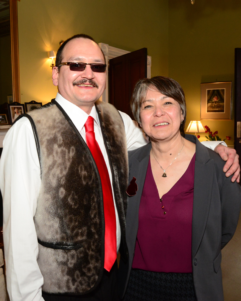 Nunatsiavut President Sarah Leo and Minister of Cultural, Recreation and Tourism, Sean Lyall, pictured at the post-Manning Awards reception at Government House.
