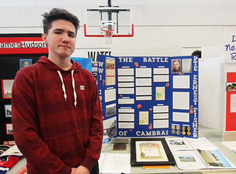 "Brady Gibbons  Grade 8, Holy Trinity High School Avalon Regional Heritage Fair   ""The Battle of Cambri and Private Ernest Fisher""   My project focused on the importance of the Battle of Cambri and the involvement of tanks in the battle. It also detailed the life of my Great-Great Uncle, Private Ernest Fisher."