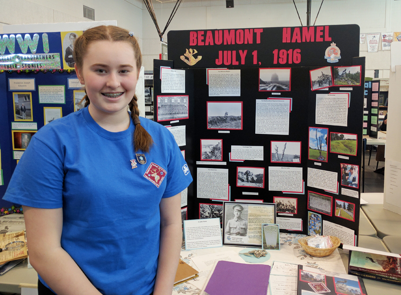 "Emily Woodfine  Grade 8, Beaconsfield Junior High Avalon Regional Heritage Fair  ""Beaumont Hamel July 1, 1916 (Ernest Chafe)""  My project explored the Battle of Beaumont Hamel and the events leading up to, during and after the battle. Also tells the story of soldier Ernest L. Chafe who died in the battle."