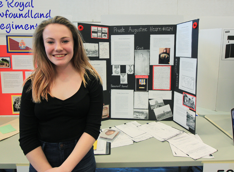 "Hannah Blackmore  Grade 8, Holy Trinity High School Avalon Regional Heritage Fair  ""Augustine Hearn""  My project was about my Great-Great Uncle Augustine Hearn Regimental #1024. It followed his WWI journey from enlistment to his death on April 14, 1917 at Monchy LePreux."