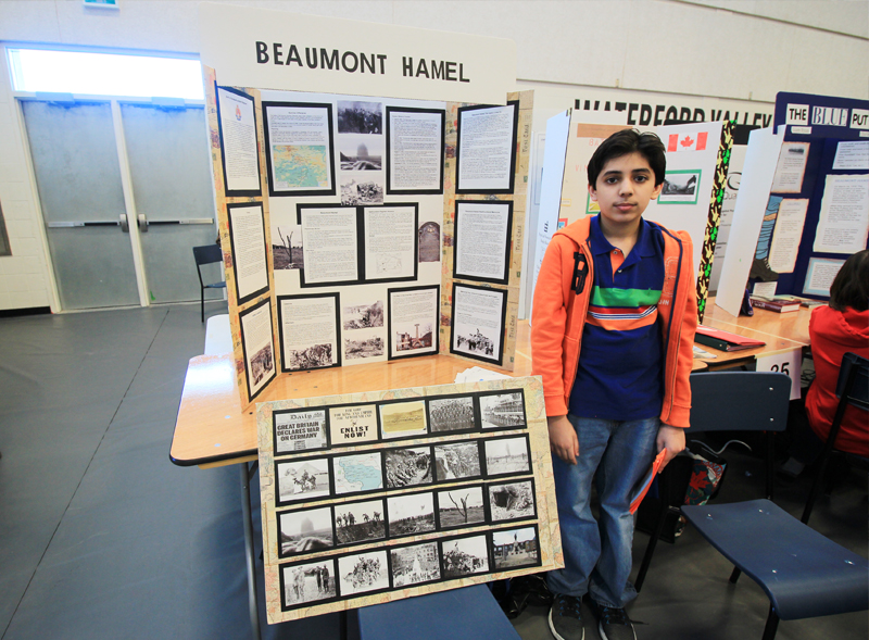 "Momin Anwar  Grade 8, MacDonald Drive Junior High Avalon Regional Heritage Fair  ""Beaumont Hamel""  My project focused on Newfoundand's role in the First World War. It featured an in depth study of Beaumont Hamel and how it shaped our lives. Included a picture storyline showing significant events of the WWI."