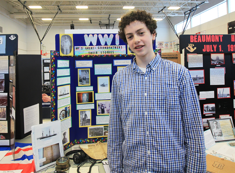"Nicholas Edwards  Grade 8, Beaconsfield Junior High Avalon Regional Heritage Fair  ""WWI – My Two Great Grandfathers – Their Stories""  My project was an overview of my two Great-Grandfathers and their service in WWI and in the navy. It followed their lives after the war and explored how their lives were connected."