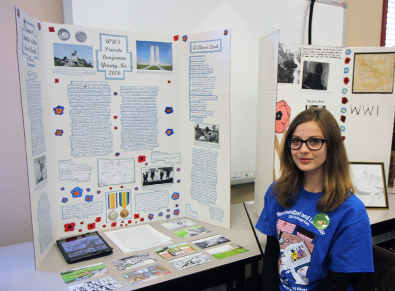 "Jasmine Neal  Grade 8, Smallwood Academy Central Regional Heritage Fair  ""WW1 Private Benjamin Young No. 2106""  My project is based on Private Benjamin Young, a WW1 soldier that fought with the NFLD regiment. I also included information on select battles of WW1."