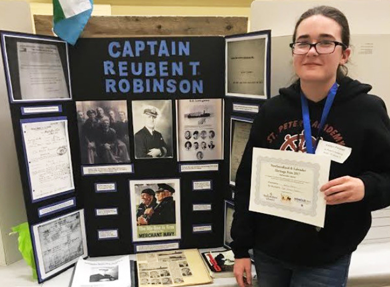 "Kaitlyn Pennell  Grade 9, St. Peter's Academy Western Regional Heritage Fair  ""The Story of Captain Reuben T. Robinson""  My heritage fair project was on my Great-Great-Great Uncle Captain Reuben T. Robinson. He fought and was wounded in World War One, and was a captain in the merchant marines in World War Two."