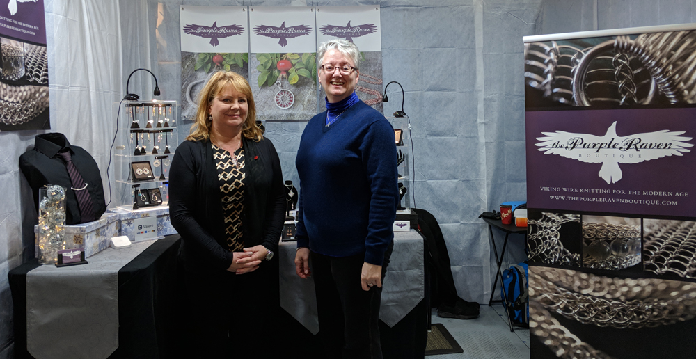 HSA Executive Director, Andrea MacDonald, is pictured with award winner Katherine Walters of The Purple Raven Boutique at her booth during the 2017 Craft Council Christmas Fair.