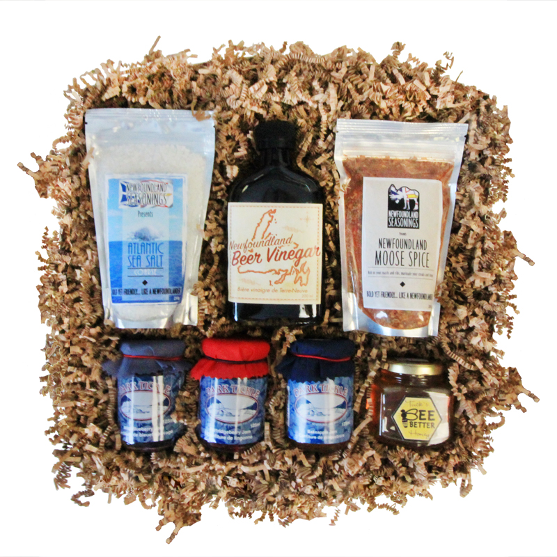Taste of NL Gift Box    A hand-picked assortment of our favourite locally-produced food stuffs, which are perfect for adding a touch of NL to any meal   Choose From: Sea Salt, NL Seasonings, Coffee, Tea, Honey, Jam, Vinegar, and more