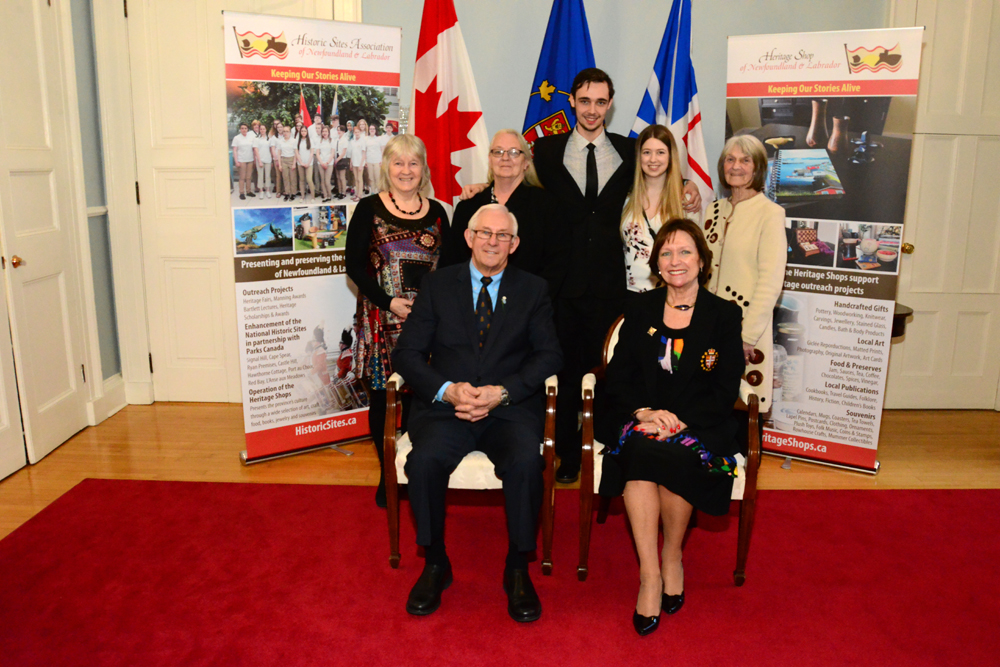 Scholarship recipient Jacob Elyk with his guests at the Government House reception with Their Honours