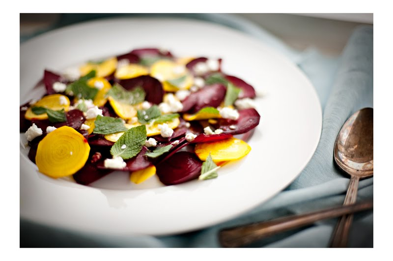 Beet Carpaccio with Goat Cheese + Mint — -