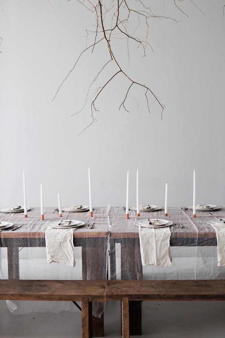 decoración mesa, comedor, cobre, velas, gasas, dekoloop