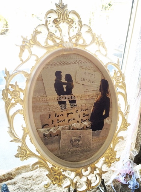 OVAL FRAME w/ VINTAGE LACE and CUSTOM PRINTS