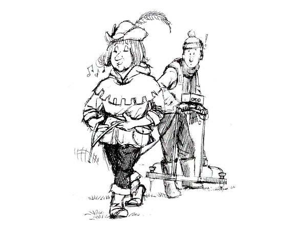 An illustration depicting the use of traditional dowsing rods compared to modern techniques.