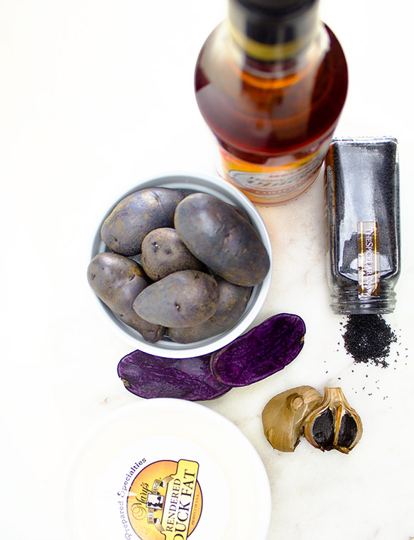 Fresh Ingredients for Duck Fat Roasted Purple Potatoes | flavortheory.com