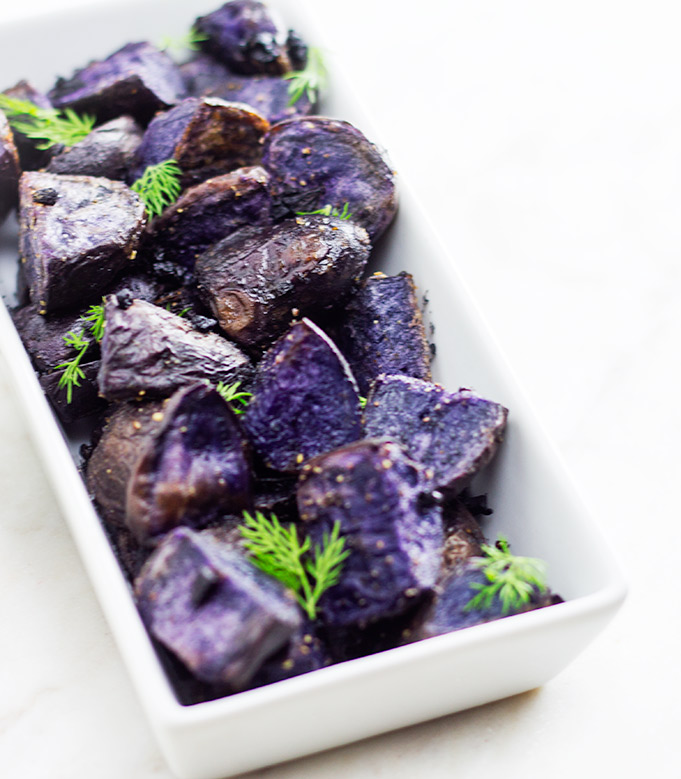 Duck Fat Roasted Purple Potatoes | flavortheory.com
