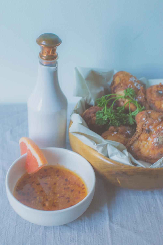 Miso Fried Chicken + Grapefruit Sauce