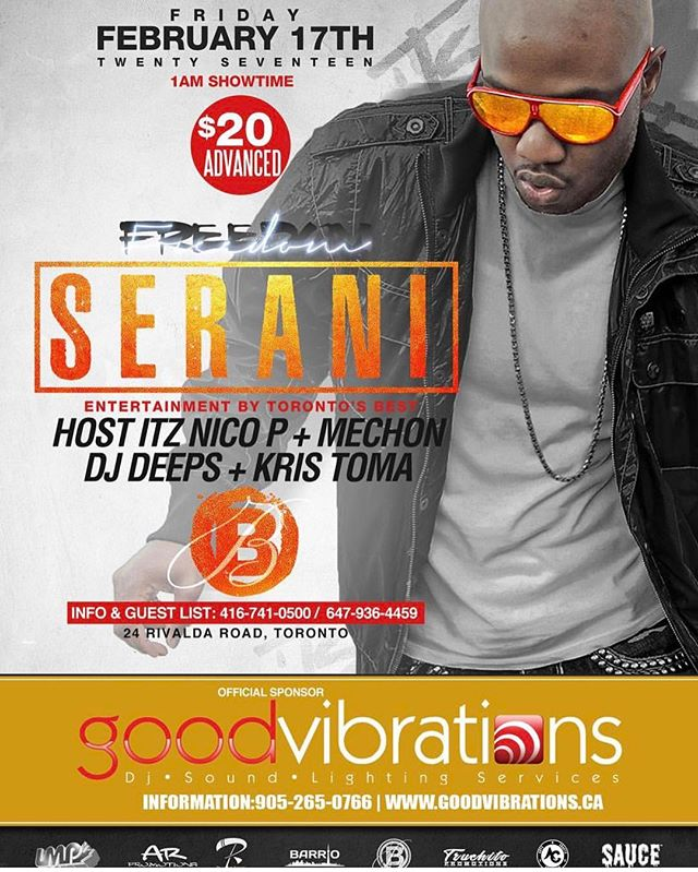 Next Friday GoodVibrations & @lasbrisasclub would like to welcome @seranimusic to Toronto! The City's heavy hitter DJs @itznicop @mechonismydj @kristomadj @thebarberhimself_djdeeps #lasbrisasdelmar #poweredbyGV @sketch__21