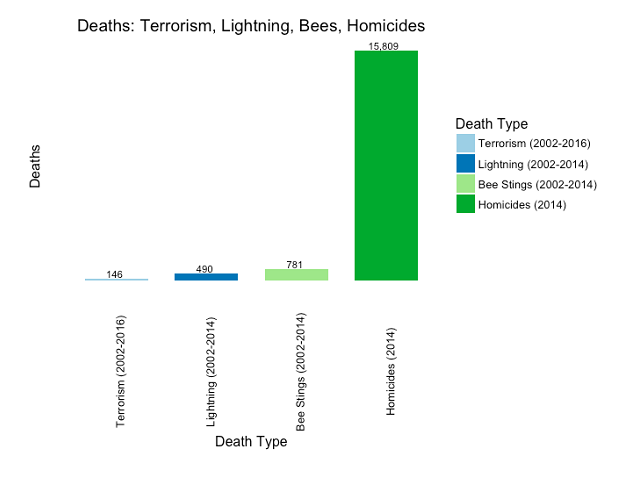 Figure 7: Terrorism, lightning, bee stings, and homicides (US, years shown in chart).