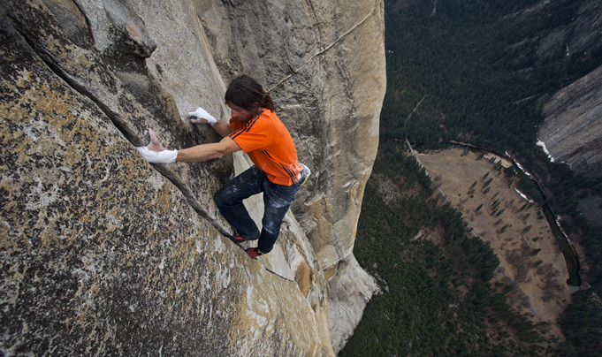 Dean Potter free soloing on El Capitan on a route he called Easy Rider.