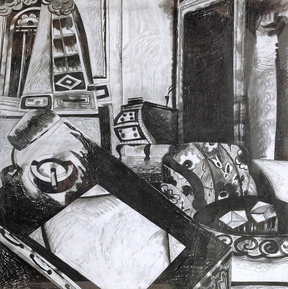 Intérieur mit Pult und Aschenbecher