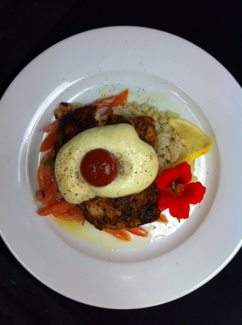 "Blackened Snapper with bloody mary pimento cheese ""egg"""