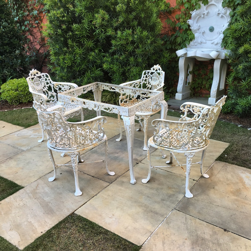 Mid 20th Century Cast Iron Lyre Back Chairs And Table 1_Charleston Garden