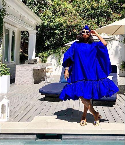 Tai Beauchamp  wearing Milele Atelier Lapis Lazuli Peponi Dress
