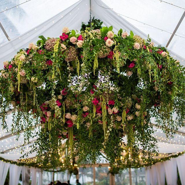 Yes we love floral chandeliers 💐🌺🌷 * * * #floralchandelier #weddings #bahamaswedding #flowers #weddings2019 #wildflowers #tent #hang  #bahamas