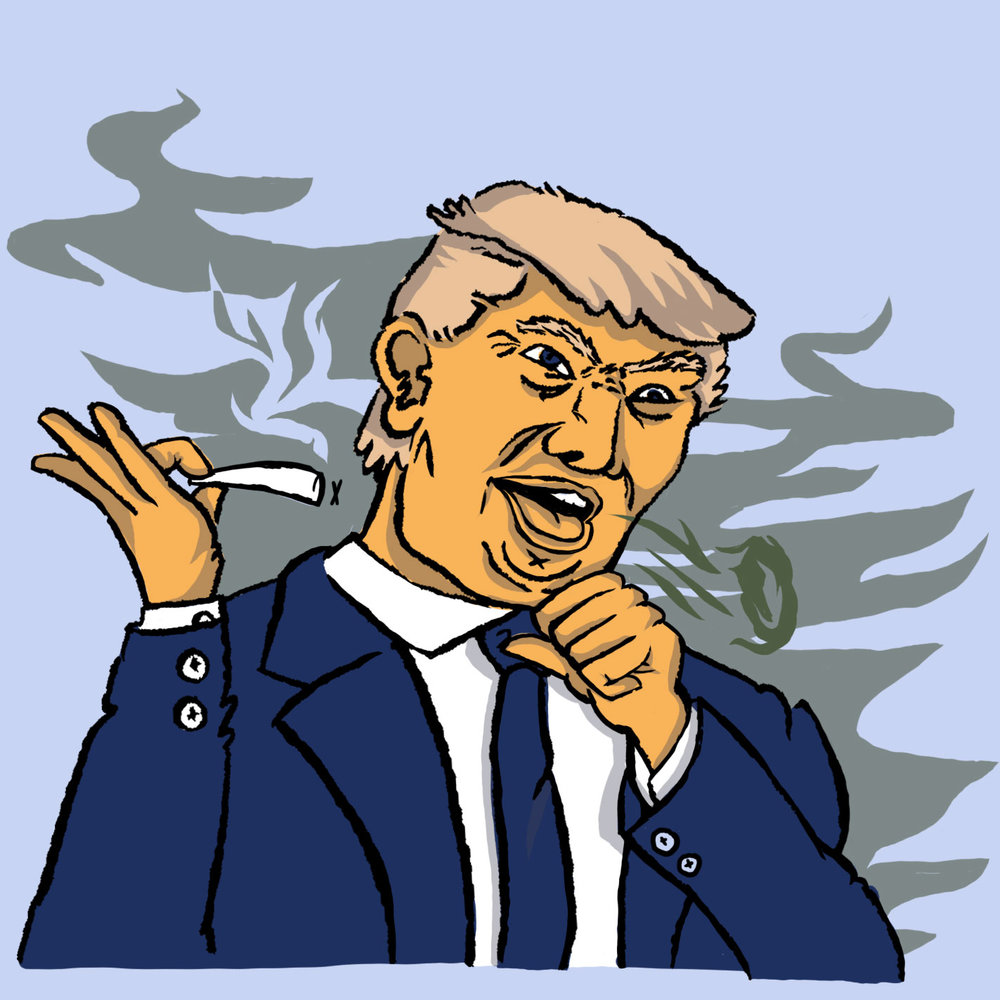 Illustration for the Willamette Week regarding Trumps views on legal marijuana.