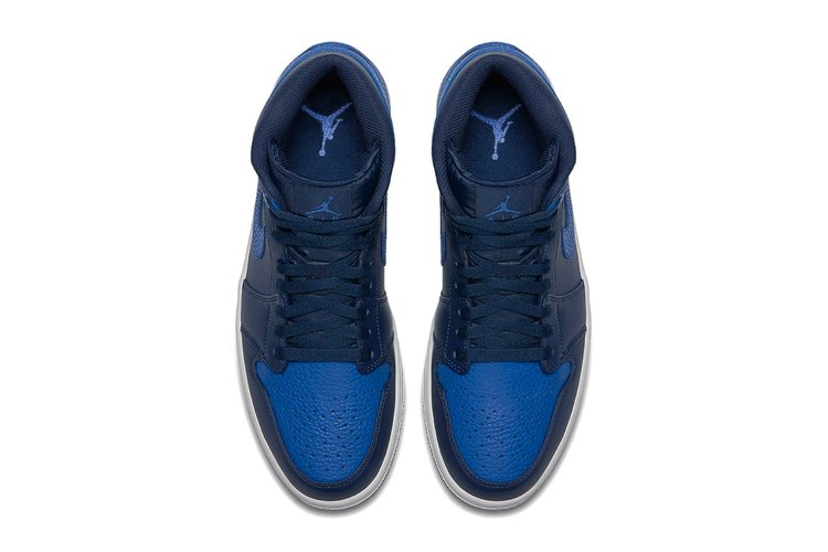 """c20e051552c9 Images of the Air Jordan 1 Mid In """"Royal Blue Obsidian"""" Surface ..."""