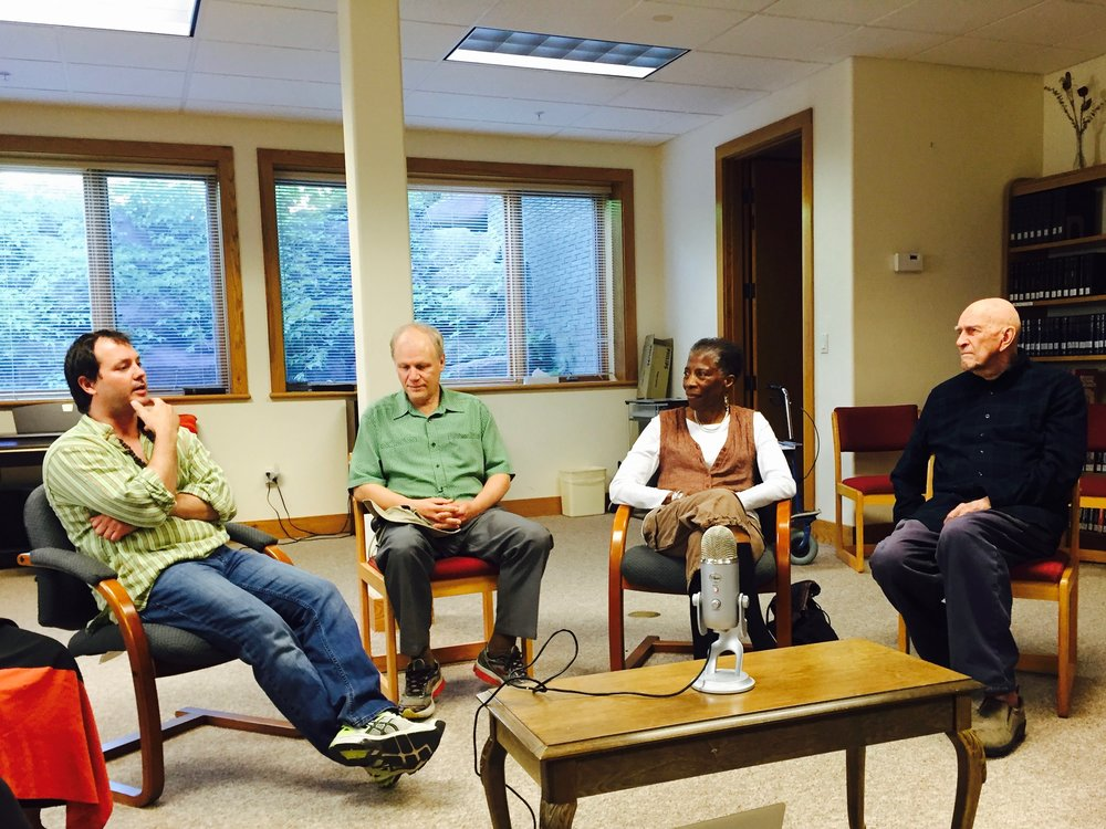 Dialogue with Fr. Thomas at St. Benedict's on June 27, 2016. R to L: Rory McEntee, Will Keepin, Thandeka, and Fr. Thomas Keating. Photo by Allison DeHart.
