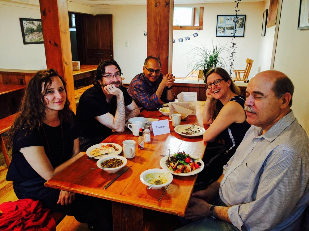 L to R: Vera de Chalambert, Netanel Miles-Yépez, John Thatamanil, Becky McDaniel, Peter Schein. Photo by Rory McEntee, 2017.