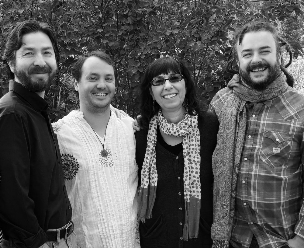 Netanel Miles-Yépez, Rory McEntee, Beverly Lanzetta, and Adam Bucko at the Schoolhouse, Snowmass, CO.  (2014)