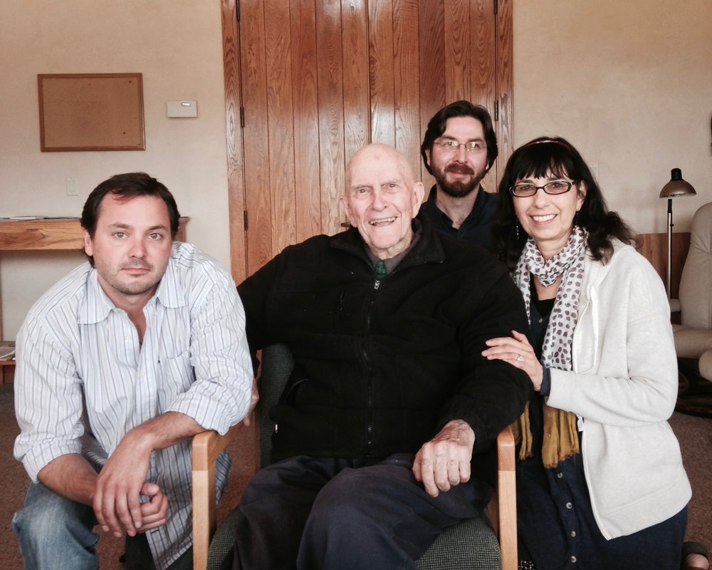 Rory McEntee, Thomas Keating, Netanel Miles-Yépez, and Beverly Lanzetta at St. Benedict's Monastery, Snowmass, CO.  (A. Bucko, 2014)
