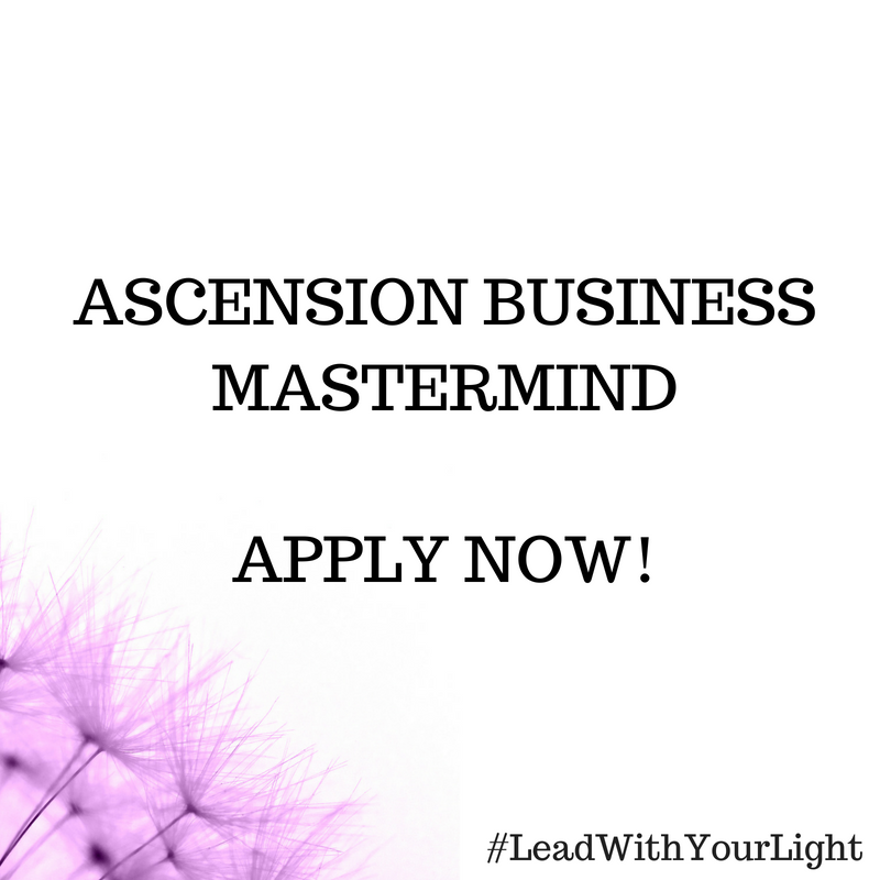 ASCENSION BUSINESS MASTERMIND  With customized  mentoring, energy healing + strategic integration plans  for your life + biz, you will fall deeply in love with your life and grow a purpose driven brand your clients go crazy over. This is the sacred step for LightLeaders who want to take things to the next level.    Click the image to learn more and Apply for the Mastermind today!