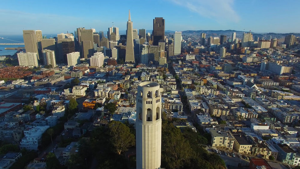 Coit Tower in North Beach and TransAmerica building downtown