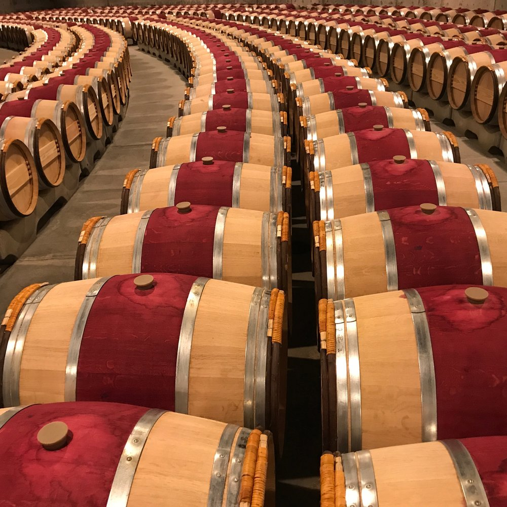 The barrel room at Opus One Winery during a Napa Private Tour