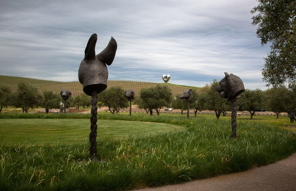 A stop at a sculpture garden at Donum Estate in Sonoma during a Private Napa Wine Tour from San Francisco