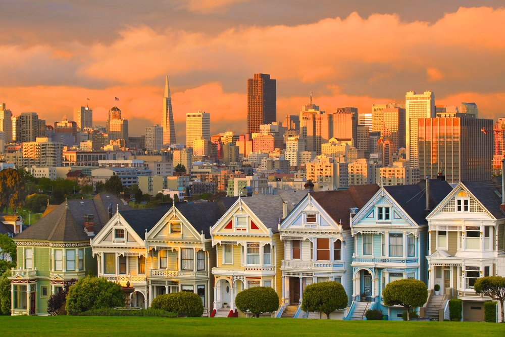 The Painted Ladies at Alamo Square during a San Francisco Private Tour