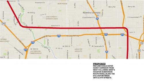 HSR Proposed Route BNSF RRxFth St Super Neighborhood - Texas high speed rail map