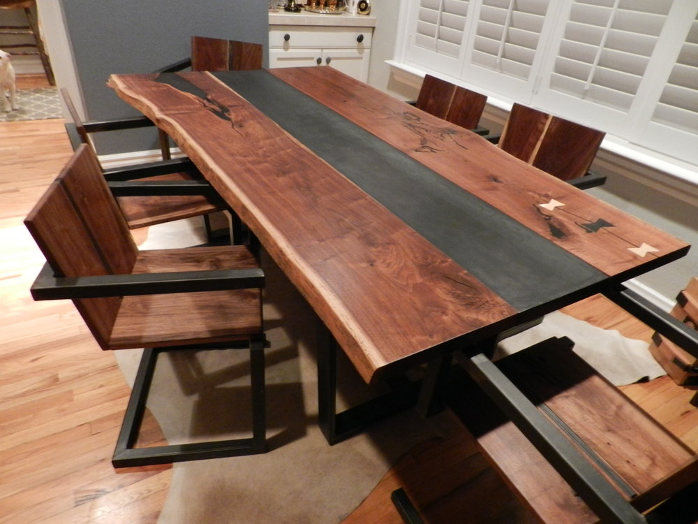 Black Walnut Dining Table and Chairs