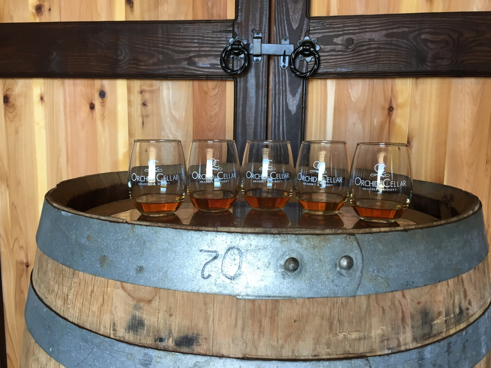 Glasses in front of barrel room