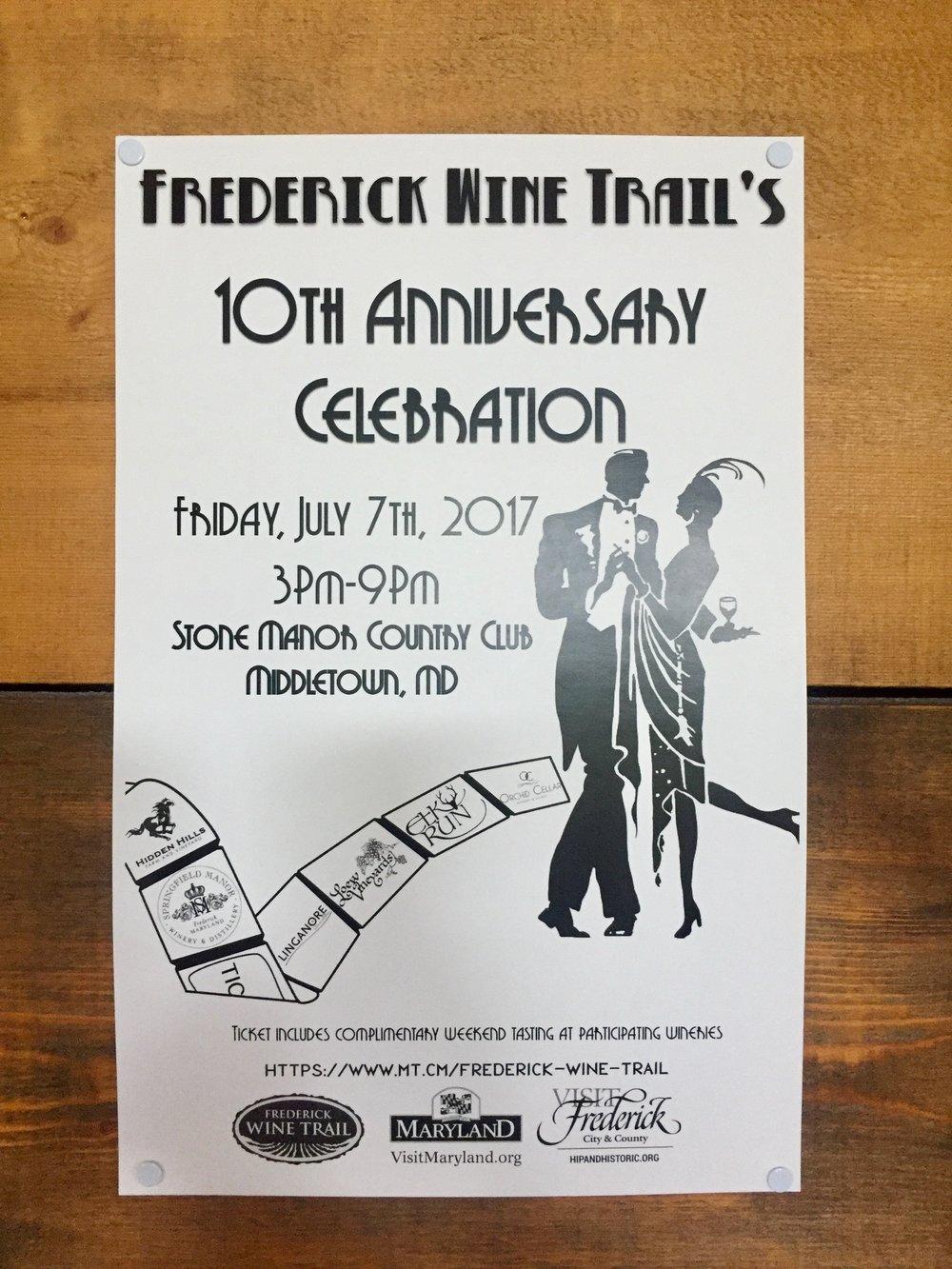 Frederick Wine Trail Anniversary